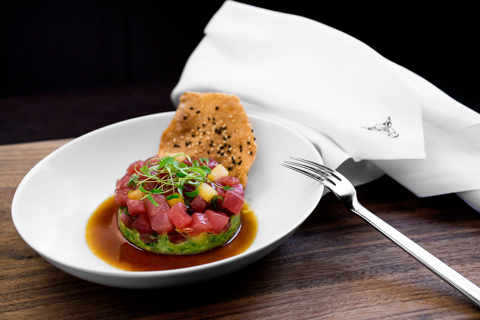 Tuna tartare at Salt & Char The Adelphi Hotel