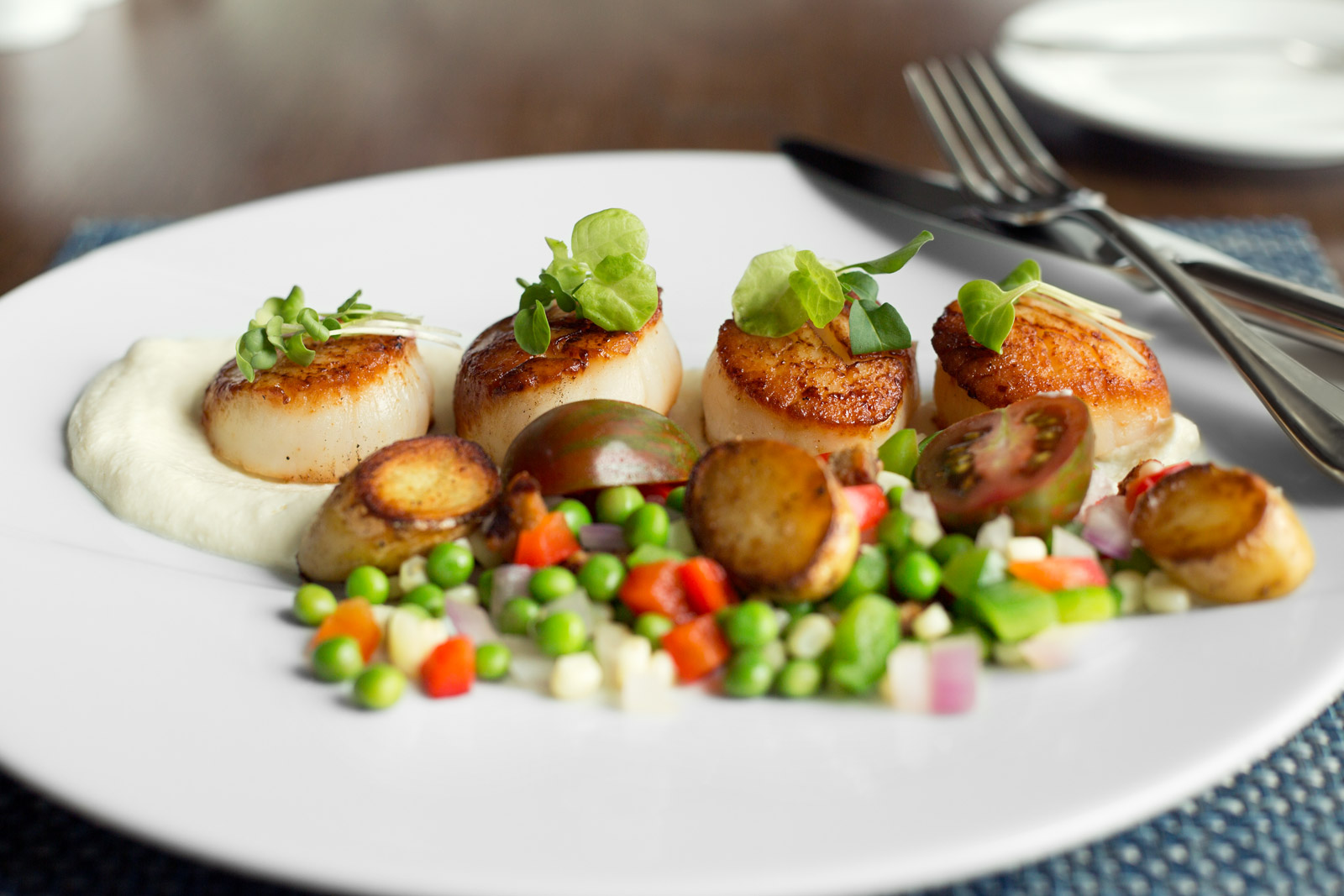 Scallops at Kimballs Kitchen, Sanderling Resort, Duck NC